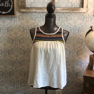 Small cream boho tank top with Aztec embroidery